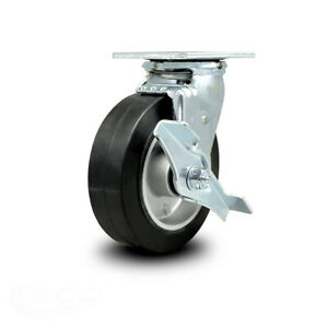 Scc 6 Rubber On Aluminum Wheel Swivel Caster W brake 550 Lbs caster
