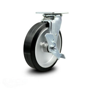 Scc 8 Rubber On Aluminum Wheel Swivel Caster W brake 600 Lbs caster