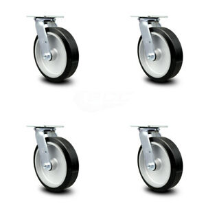 Scc 8 Rubber On Aluminum Wheel Swivel Casters Set Of 4