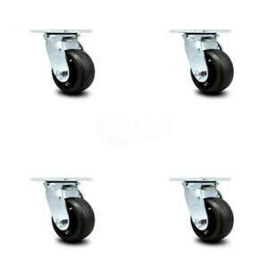 Scc 4 Rubber On Cast Iron Wheel Swivel Casters Set Of 4