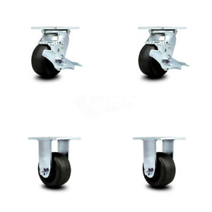 Scc 4 Rubber On Cast Iron Caster Set Of 4 2 Swivel W brakes 2 Rigid