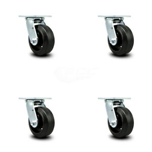 Scc 5 Rubber On Cast Iron Wheel Swivel Casters Set Of 4