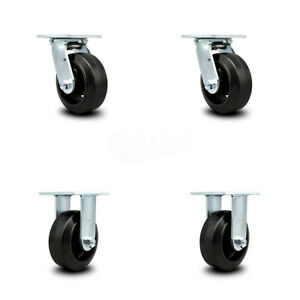 Scc 5 Rubber On Cast Iron Caster Set Of 4 2 Swivel 2 Rigid