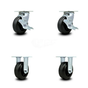 Scc 5 Rubber On Cast Iron Caster Set Of 4 2 Swivel W brakes 2 Rigid