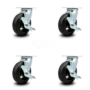 Scc 6 Rubber On Cast Iron Wheel Swivel Casters W brakes Set Of 4