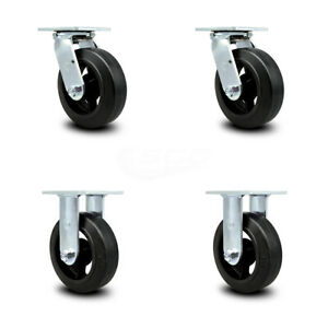 Scc 6 Rubber On Cast Iron Caster Set Of 4 2 Swivel 2 Rigid
