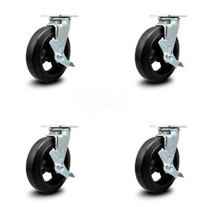 Scc 8 Rubber On Cast Iron Wheel Swivel Casters W brakes Set Of 4