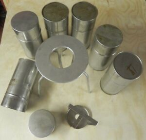 Lot Laboratory Metal Aluminum Canister Cylinder W Slide on Cap And Stands