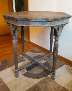 Antique Vintage Primitive Distressed Wood Accent Table Farmhouse Barn Rustic Old