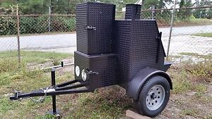 Mobile Bbq Catering Kitchen Reverse Smoker Cooker Grill Rib Box Food Cart Truck