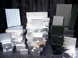 Jewelry Gift Boxes 54 Boxes Assorted Sizes 24 Silver Bow Cords