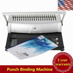 21 hole 450 Sheets Paper Punch Binding Machine Binder Scrapbook Adjustable Usa