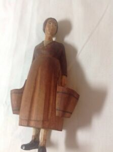 Vintage Hand Carved Hand Painted Wood Figure Swiss Milk Maid With Buckets Brienz