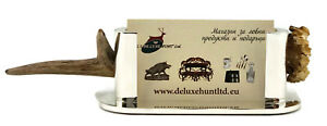 Deer Antler Desktop Business Card Holder Display Stand Desk Shelf