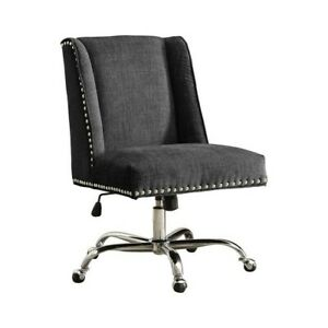 Riverbay Furniture Armless Upholstered Office Chair In Charcoal