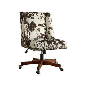 Riverbay Furniture Armless Upholstered Office Chair In Udder Madness Milk