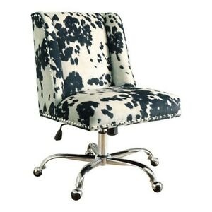 Riverbay Furniture Armless Upholstered Office Chair In Udder Madness Black