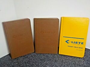 3 Vintage Lietz Field Books 8151 00 Engineers 8151 30 Transit 8152 00 Blank