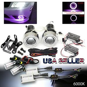 Euro Style 3 Projector Fog Lights Purple Ccfl Halo Dual Switch 55w 6000k Hid