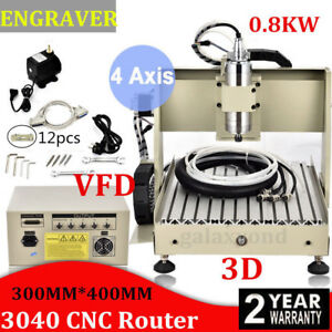 4 Axis 3040 Cnc Router Engraver 800w Vfd Engraving Machine Metal Drilling Wood