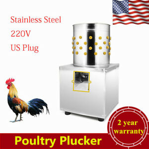 220v Stainless Steel Poultry Plucker Feather Birds Chicken Plucking Machine Usa