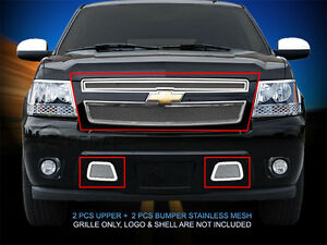 Mesh Grille Grill Combo For Chevy Avalanche Suburban Tahoe 2007 2014