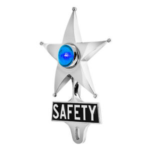 Safety Star License Plate Topper Chrome W Mini Moon Dual Function Blue Led