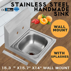 15 7 x 15 4 Stainless Steel Handmade Single Bowl Sink Service Commercial Square