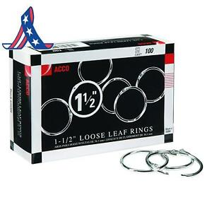 Acco Loose Leaf Binder Rings 1 1 2 Silver 100 Rings box 72204