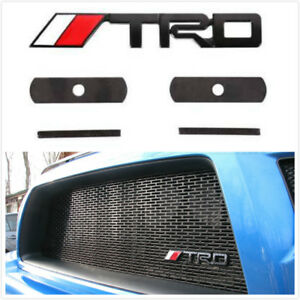 Black Metal Trd Red Grill Mesh Grille Emblem Logo Decal Badge For Tacoma Tundra