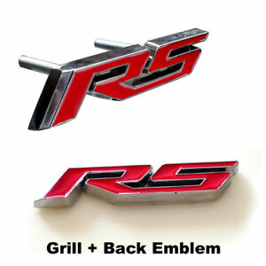 2x New Front Red Chevy Metal Rs Camaro Cruze Front Grille Trunk Emblem Badges
