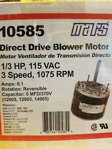 Mars Direct Drive Blower Motor 1 3hp 115vac 3 speed 1075rpm 6 1 Amps