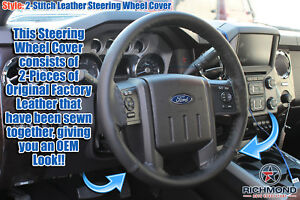 2012 2013 Ford F250 F350 Fx4 Fx2 Xlt Lariat leather Steering Wheel Cover Black
