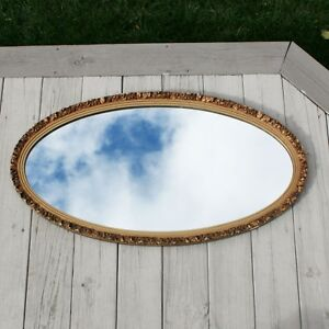 Large Vintage 39 X 21 Oval Gilt Gold Wood Hollywood Regency Wooden Wall Mirror