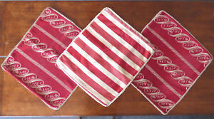 Vtg 3 X Antique Cushion Covers Red From England Heavy Satin 21 X 18