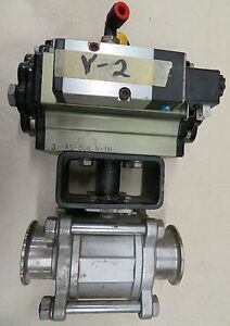 2 Ball Valve Triclamp 316ss Air Actuator 24v Solenoid