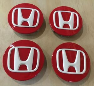 New Set Of 4 Center Caps For A Honda Red Emblem Logo White Oem Made In Japan