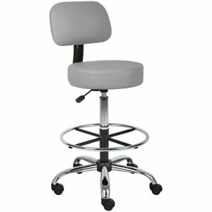 Boss Office Faux Leather Adjustable Medical Drafting Stool In Gray