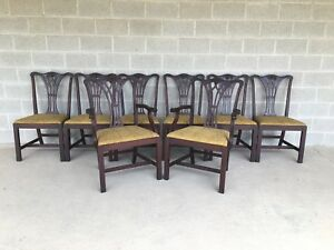 Georgetown Galleries Set Of 8 Solid Mahogany Chippendale Style Dining Chairs