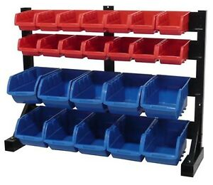 Tool Shop 24 Bin Small Parts Storage Rack Garage Organizer Large Bins Wall Mount