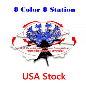 8 Color 8 Station Screen Printing Press Micro registration Double Rotary Machine