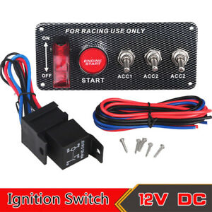 Universal Ignition Switch Engine Start Push Button Racing Car 3 Toggle Panel 12v