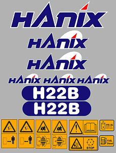 Hanix H22b Digger Complete Decal Sticker Set With Safety Warning Decals