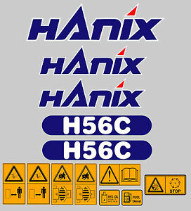 Hanix H56c Digger Complete Decal Sticker Set With Safety Warning Decals