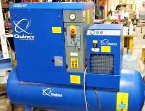 Quincy Qgs 10 Tank Mounted Screw Compressor With Refrigerated Dryer