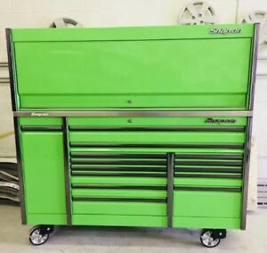 Snap On 76 Epiq Tool Box Roll Cab W matching Hutch Extreme Green Power Top