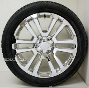 Gmc Yukon Denali Sierra 22 Chrome Split Spoke Wheels Rims Bridgestone Tires