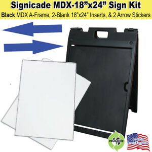 Black Signicade Mdx Portable Sign Kit With 2 Blank Sign Inserts