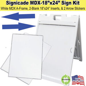 White Signicade Mdx Portable Sign Kit With 2 Blank Sign Inserts