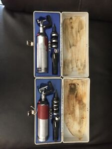 Lot Of 2 Riester Aesculap Otoscope Opthalmoscope Sets 6515 00 550 7199